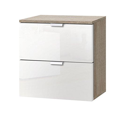 Express Möbel Nachtkonsole mit zwei Schubladen Weiß Hochglanz Lack, Korpus Eiche Sonoma Nachbildung, BxHxT 40x42x42 cm, Art Nr. 30800-768