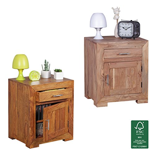 finebuy nachttisch massivholz nachtkommode 60 cm hoch 50 cm breit mit schublade und tr. Black Bedroom Furniture Sets. Home Design Ideas