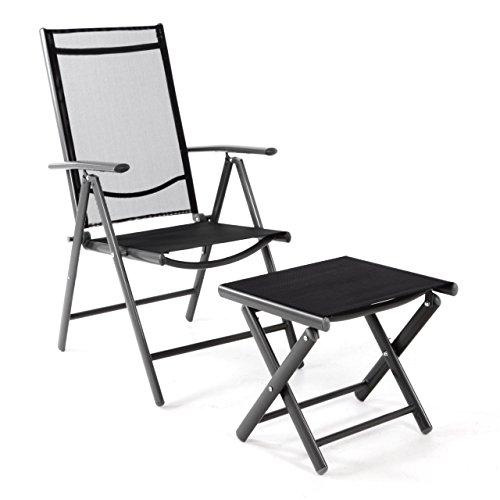 klappstuhl set mit hocker fusttze gartenstuhl aluminium. Black Bedroom Furniture Sets. Home Design Ideas