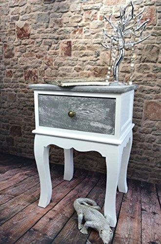 Livitat® Nachttisch Nachtschrank Nachtkonsole Nachschränckchen Nachtkommode Weiß Shabby Chic barock