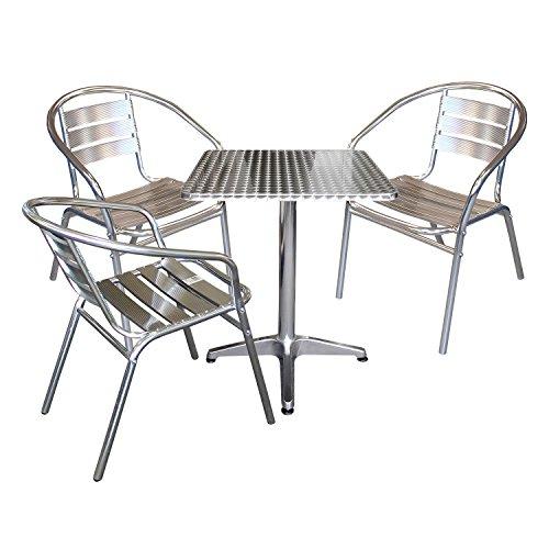 Modernes 4-teiliges Aluminium Balkonmöbel Bistromöbel Set Gartentisch Klapptisch 60x60x70cm + 3x Gartenstuhl Stapelstuhl Gartenmöbel Terrassenmöbel