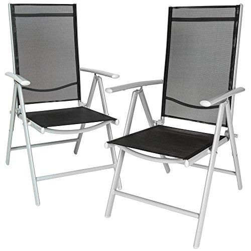 TecTake 2er Set Aluminium Klappstuhl Gartenstuhl verstellbar mit Armlehnen silber/schwarz