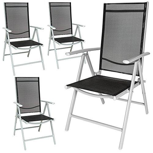 TecTake 4er Set Aluminium Klappstuhl Gartenstuhl verstellbar mit Armlehnen silber/schwarz