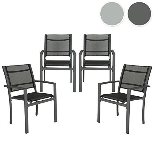 tectake 4er set gartenstuhl metall mit armlehnen. Black Bedroom Furniture Sets. Home Design Ideas