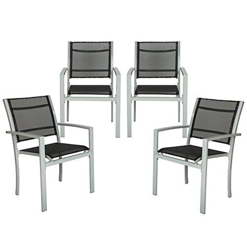 TecTake 4er Set Gartenstuhl Metall | mit Armlehnen | Grau