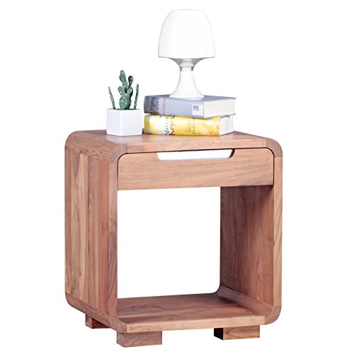 wohnling design nachttisch massivholz nacht kommode 50 cm mit schublade boxspringbett. Black Bedroom Furniture Sets. Home Design Ideas