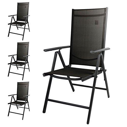 Wohaga® 4er Set Hochlehner, 2x2 Textilenbespannung Schwarz, Aluminiumgestell Anthrazit, Rückenlehne 7-fach verstellbar, klappbar