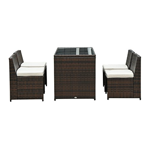 Outsunny® Polyrattan Gartenmöbel Rattan Essgruppe Gartenset Lounge Sitzgruppe Sofa Loungemöbel Garnitur inkl. Kissen Alu (9 tlg. Rattan Gartenset)