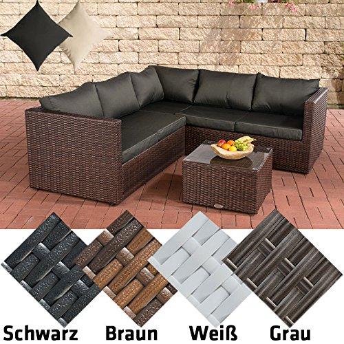 CLP Poly-Rattan Lounge-Set LIBERI, Aluminium-Gestell (3er Sofa + 2er Sofa + Tisch 55 x 55 cm + 9 cm Polster / Kissen) Rattan Farbe braun-meliert, Bezugfarbe Anthrazit