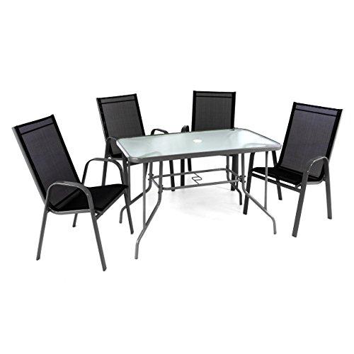 5er Set Sitzgarnitur Sitzgruppe Gartengarnitur Glastisch eckig Stapelstuhl schwarz Glasplatte Gartentisch 1 Tisch 4 Stühle robust wetterfest