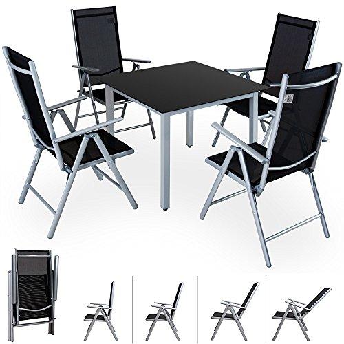 Alu Sitzgruppe 4+1 Sitzgarnitur Gartengarnitur Tischplatte aus Glas + klappbare und neigbare Stühle 7fach verstellbar Modellauswahl