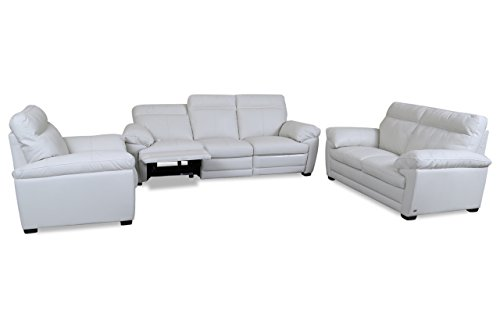 sofa couch editions leder garnitur 3 2 1 u074 mit relax weiss mit federkern 1 m bel24. Black Bedroom Furniture Sets. Home Design Ideas