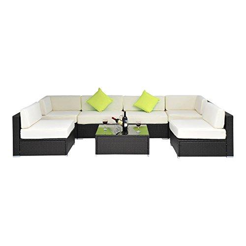 Outsunny Gartenmöbel Polyrattan 23 teilig Aluminium Rattan Gartenset Sitzgruppe Loungeset Loungemöbel, schwarz