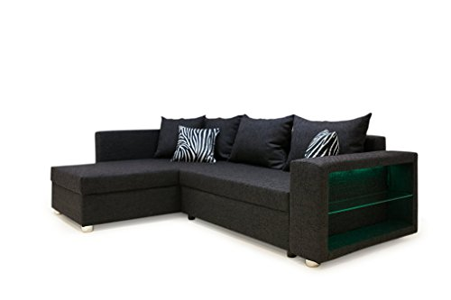 b famous 100613 passau polsterecke ecksofa mit led rgb beleuchtung im armteil 162 x 226 x 85. Black Bedroom Furniture Sets. Home Design Ideas