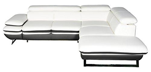 Cotta C733891 D200 D208 Polsterecke Lederimitat, weiß / grau, 265 x 223 x 74 cm