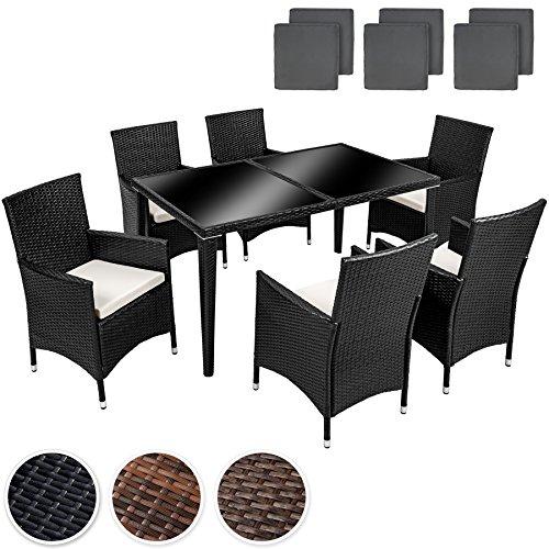 tectake hochwertige rostfreie poly rattan aluminium gartenm bel gartengarnitur essgruppe. Black Bedroom Furniture Sets. Home Design Ideas