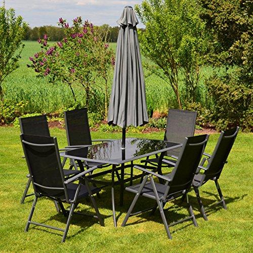 hecht garten sitzgruppe shadow komplett set 1x gartentisch glasplatte 6 klapp st hle. Black Bedroom Furniture Sets. Home Design Ideas