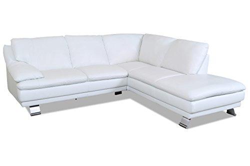 Sofa couch editions leder ecksofa xl u118 weiss mit for Ecksofa leder federkern