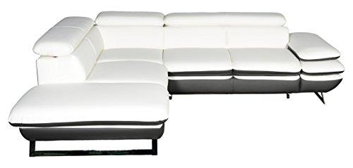 Cotta C733892 D200 D208 Polsterecke Lederimitat, weiß / grau, 223 x 265 x 74 cm