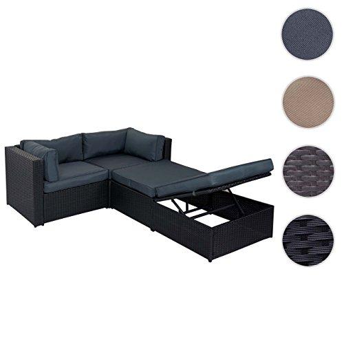 Poly-Rattan-Garnitur Adana, Gartengarnitur Sitzgruppe Lounge-Set, Alu ~ schwarz, Kissen grau