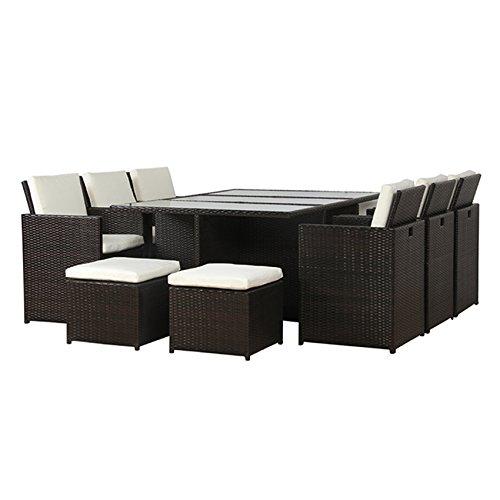POLY RATTAN Lounge Gartenset BRAUN Sofa Garnitur Polyrattan ALU - kein Bausatz