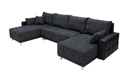 b famous 150328 perugia wohnlandschaft in u form ecksofa materialmix microvelour mit. Black Bedroom Furniture Sets. Home Design Ideas