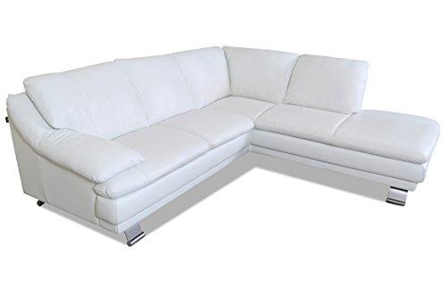 sofa couch editions leder ecksofa xl u118 weiss mit federkern m bel24. Black Bedroom Furniture Sets. Home Design Ideas