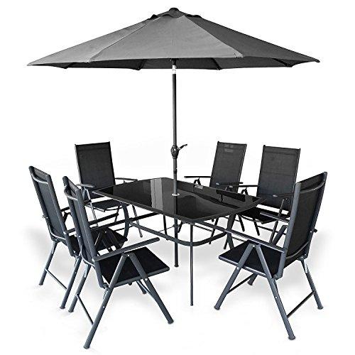 HECHT Garten Sitzgruppe -SHADOW- Komplett Set (1x Gartentisch (Glasplatte) + 6 Klapp-Stühle + Sonnenschirm)