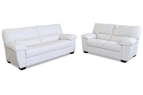 sofa couch editions leder garnitur 3 2 u172 weiss mit. Black Bedroom Furniture Sets. Home Design Ideas