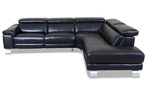 Sofa Couch HTL International Leder Ecksofa XL 5320B - Schwarz mit Federkern