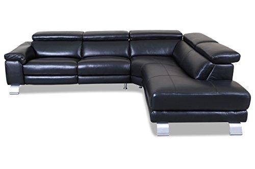 sofa couch htl international leder ecksofa xl 5320b schwarz mit federkern m bel24. Black Bedroom Furniture Sets. Home Design Ideas