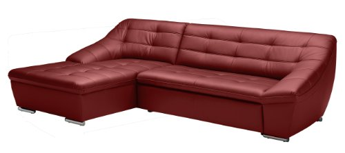 Polsterecke Lucas/Longchair mit Bettkasten-3 Bett/165x81x287 cm/Leder Punch feuer rot-Poroflex softy rot
