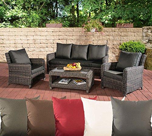 CLP Poly-Rattan Garten Loungemöbel Set SAN FERNANDO, ALU-Gestell (3er Sofa, 2 Sessel + Lounge-Tisch 100 x 55 cm) Rattan Farbe grau-meliert, Bezugfarbe Anthrazit
