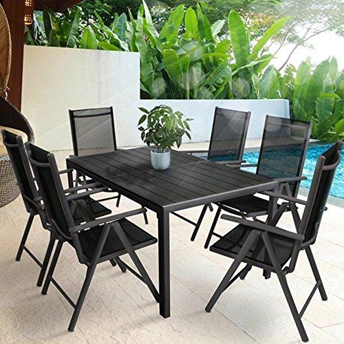 SSITG Gartenmöbel Gartengarnitur Gartenset Essgruppe Sitzgruppe Klappstuhl Tisch Alu