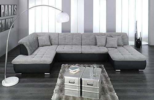 Wohnlandschaft, Couchgarnitur XXL Sofa, U-Form, schwarz/grau, Ottomane links