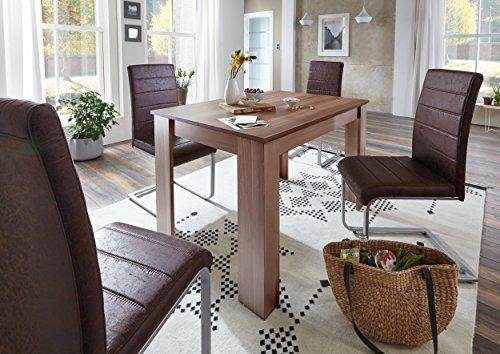 sam 5 tlg tischgruppe essgruppe mit 120 x 80 cm tisch in nussbaum melamin beschichtet. Black Bedroom Furniture Sets. Home Design Ideas