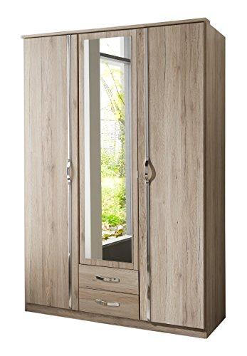 Wimex 064484 Kleiderschrank, 3-türig mit zwei Schubkästen und einer Spiegeltür, San Remo Eiche Nachbildung, 135 x 198 x 58 cm, aufleistungen chrom