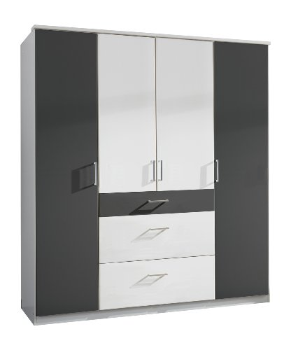 Wimex 147626 Kleiderschrank, 180 x 199 x 58 cm, 4-türig mit zwei breiten und einen schmalen Schubkasten, Front und Korpus alpinweiß/ Absetzungen anthrazit