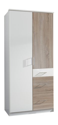 Wimex 152624 Kleiderschrank, 90 x 199 x 58 cm, 2-türig mit zwei großen und einen kleinen Schubkasten, Front und Korpus alpinweiß/ Absetzungen eiche sägerau Nachbildung