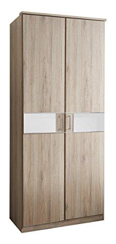 Wimex T05179 2 türiger Kleiderschrank, Holz, san remo eiche nachbildung / absetzungen glas weiß, 90 x 58 x 197 cm