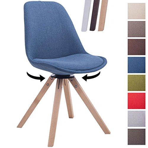 Clp design retro stuhl troyes square stoff sitz gepolstert for Stuhl drehbar esszimmer