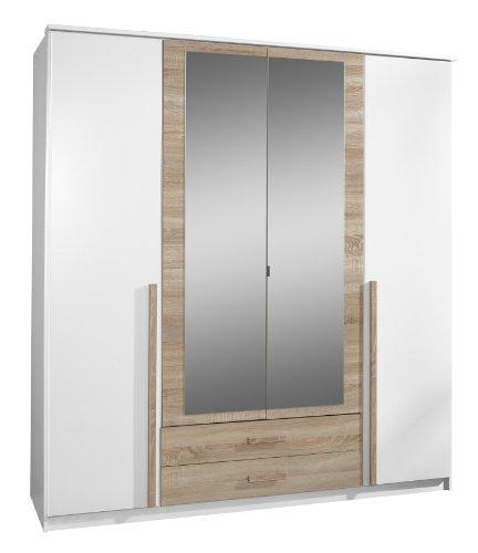 Wimex 030453 Drehtürenkleiderschrank 198 x 180 x 58 cm, Absetzung Eiche-sägerau-Nachbildung, Front und Korpus alpinweiß
