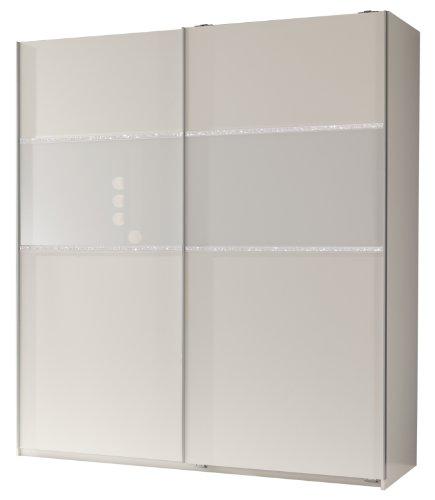 Wimex 162771 Schwebetürenschrank 198 x 180 x 64 cm, alpinweiß, Absetzungen Glas weiß und Strasskristall