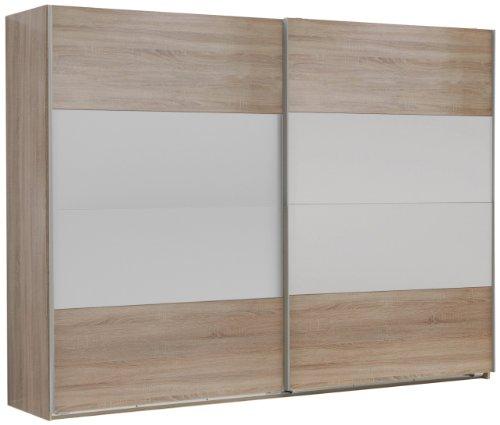 Wimex 785862 Schwebetürenschrank 270 x 210 x 65 cm, Felder variabel positionierbar, Front und Korpus Eiche Sägerau Nachbildung / Absetzungen, alpinweiß