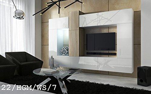 FUTURE 22 Wohnwand Anbauwand Wand Schrank Wohnzimmer Wohnzimmerschrank Hochglanz-Matt Weiß-Sonoma Schwarz-Sonoma LED RGB Beleuchtung (22/HGM/WS/7, LED weiß)