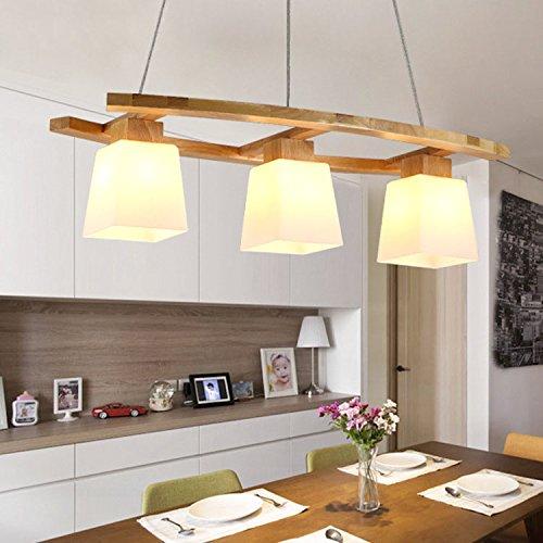 ZMH LED Pendelleuchte esstisch Deckenleuchte aus Holz und Glasschirm Hängeleuchte höhenverstellbar Pendellampe Hängelampe 3*E27 Leuchtmittel Kronleuchte für Büro, Esstisch, Arbeitszimmer, Wohnzimmerlampe