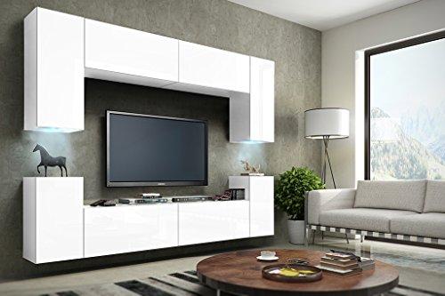 FUTURE 1 Wohnwand Anbauwand Schrankwand Wohnzimmerschrank Möbel Wand TV-Ständer Wohnzimmer LED RGB Beleuchtung (Front: Matt Weiß / Korpus: Matt Weiß, LED blau)