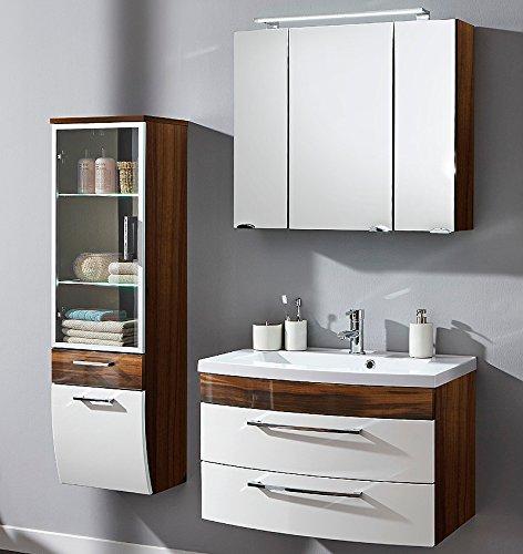 Badmbel Set Walnuss - Hochglanz wei Waschplatz Badezimmer Spiegelschrank