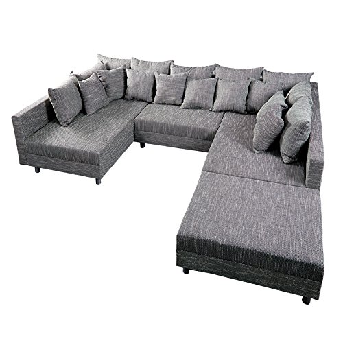 Design Sofa LOFT XXL mit Hocker Strukturstoff anthrazit
