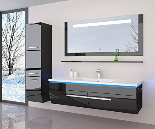 Badmöbelset 120 cm Hochglanz lackiert (mit 70 cm Spiegel mit einem Hochschrank, Schwarz)